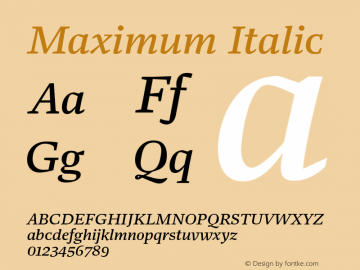 Maximum Italic Version 1.001 Font Sample