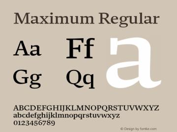 Maximum Regular Version 1.001 Font Sample