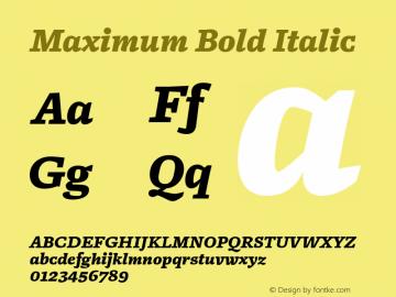 Maximum Bold Italic Version 1.001 Font Sample