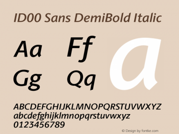 ID00 Sans DemiBold Italic Version 1.001图片样张