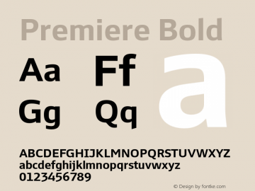 Premiere Bold Version 1.001 Font Sample