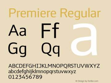 Premiere Regular Version 1.001 Font Sample