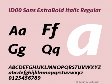 ID00 Sans ExtraBold Italic Regular Version 1.001图片样张