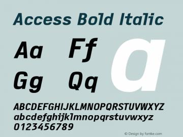 Access Bold Italic Version 1.001 Font Sample