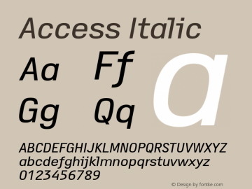 Access Italic Version 1.001 Font Sample