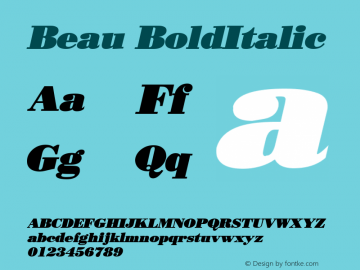 Beau BoldItalic Altsys Fontographer 4.1 12/27/94 Font Sample