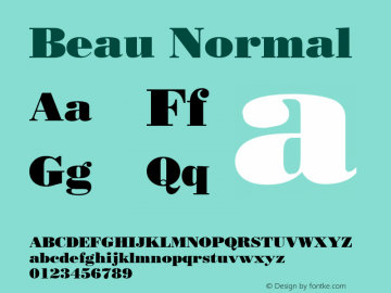 Beau Normal Altsys Fontographer 4.1 12/27/94 Font Sample