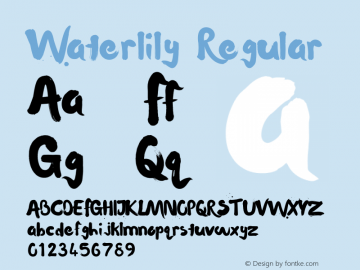 Waterlily Regular Version 1.000;PS 001.000;hotconv 1.0.70;makeotf.lib2.5.58329 Font Sample