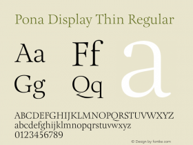 Pona Display Thin Regular Version 1.000 Font Sample
