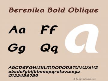 Berenika Bold Oblique Version 2.000 Font Sample