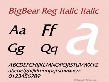 BigBear Reg Italic Italic Unknown Font Sample