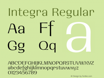 Integra Regular 001.000 Font Sample
