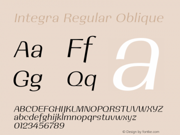 Integra Regular Oblique 001.000 Font Sample