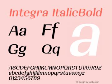 Integra ItalicBold 001.001 Font Sample