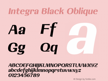 Integra Black Oblique 001.001 Font Sample