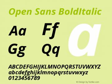 Open Sans BoldItalic Version 1.10 Font Sample