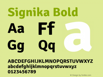 Signika Bold Version 1.000 Font Sample