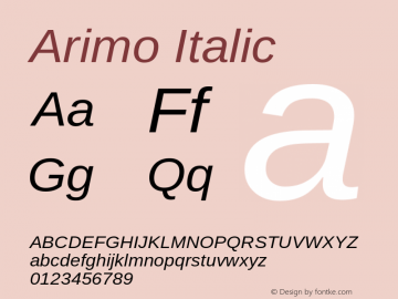 Arimo Italic Version 1.20 Font Sample