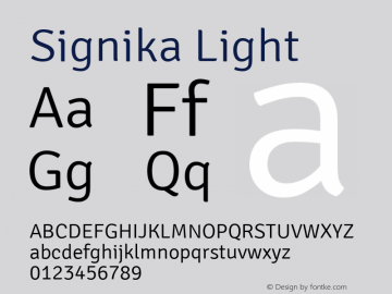 Signika Light Version 1.000 Font Sample