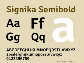 Signika Semibold Version 1.000 Font Sample