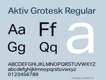 Aktiv Grotesk Regular Version 1.001 Font Sample
