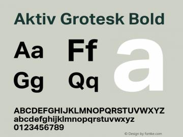 Aktiv Grotesk Bold Version 1.001 Font Sample