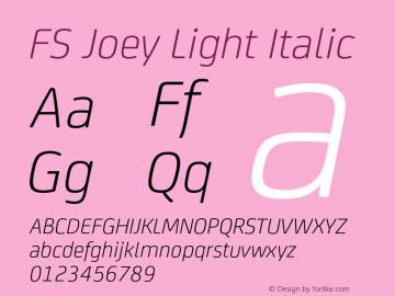 FS Joey Light Italic Version 2.000 Font Sample
