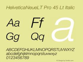 HelveticaNeueLT Pro 45 Lt Italic Version 1.000;PS 001.000;Core 1.0.38 Font Sample