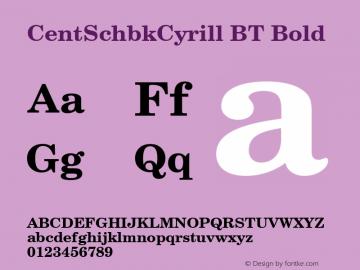 CentSchbkCyrill BT Bold mfgpctt-v1.79 Feb 17 1994 Font Sample
