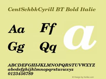 CentSchbkCyrill BT Bold Italic mfgpctt-v1.79 Feb 17 1994 Font Sample