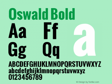Oswald Bold Version 1.2 Font Sample