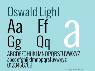 Oswald Light Version  1.2 Font Sample