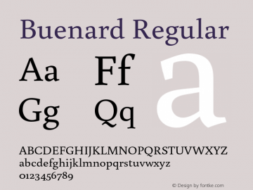 Buenard Regular Version 1.001 2011 Font Sample