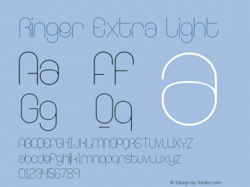 Ringer Extra Light Version 001.000 Font Sample