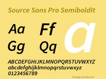 Source Sans Pro SemiboldIt Version 1.000 Font Sample