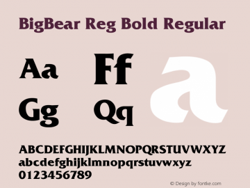 BigBear Reg Bold Regular Unknown Font Sample