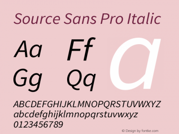 Source Sans Pro Italic Version 1.000 Font Sample