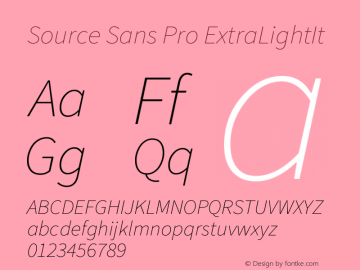Source Sans Pro ExtraLightIt Version 1.000 Font Sample