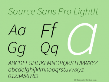 Source Sans Pro LightIt Version 1.000 Font Sample