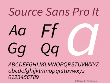 Source Sans Pro It Version 1.000 Font Sample