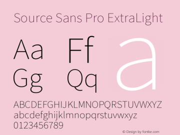 Source Sans Pro ExtraLight Version 1.000 Font Sample