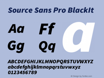 Source Sans Pro BlackIt Version 1.000 Font Sample