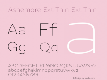 Ashemore Ext Thin Ext Thin 1.000 Font Sample