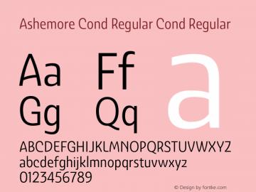 Ashemore Cond Regular Cond Regular 1.000 Font Sample