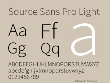 Source Sans Pro Light Version 1.000 Font Sample