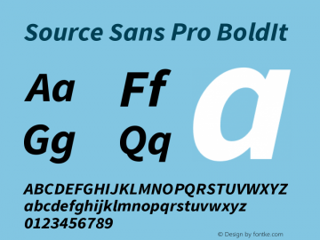 Source Sans Pro BoldIt Version 1.000 Font Sample