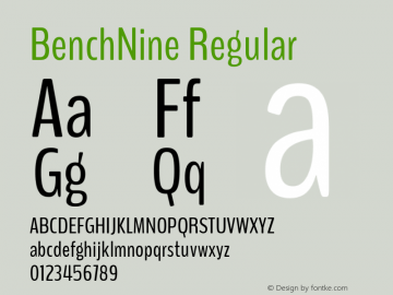 BenchNine Regular Version 0.1 ; ttfautohint (v0.92.5-ae1f-dirty) -l 8 -r 60 -G 60 -x 14 -w