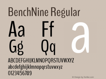 BenchNine Regular Version 0.1 Font Sample