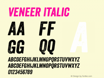 Veneer Italic Version 1.001 Font Sample