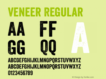 Veneer Regular Version 1.001 Font Sample